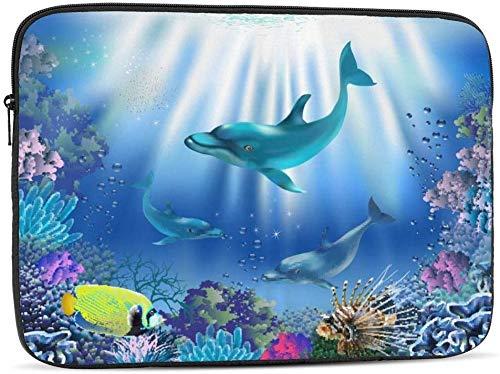 BONRI Symbol of Autism Puzzles and Hands Estuche para computadora portátil compatible con estuche para computadora portátil de 10 a 17 pulgadas: el mundo submarino con delfines y plantas, 10 pulgadas