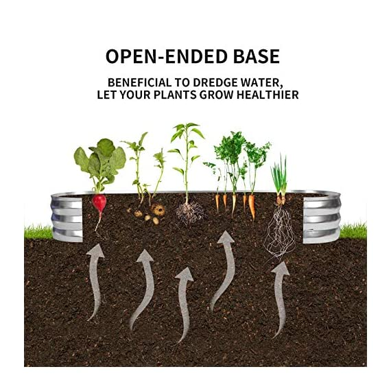 """Gadi raised garden bed kit for vegetables flower galvanized metal planter boxs designed for easy diy and cleaning not… 5 more suitable raised garden bed size and volume:67""""l x 20""""w x10""""h, 7 cu. Ft. You can cultivate plants, like vegetables, flowers, herbs in your patio, yard, garden, and greenhouse. Built to last: the raised garden bed body made of steel plates galvanized layer and 2 layers of anti-corrosion paint, strong anti-rust performance to keep your garden bed looking its best for years to come. Open-bottom garden bed: built with an open base to prevent water buildup and rot, while allowing roots easy access to nutrients. Side ventilation:side ventilation can enhance the respiration of plant roots and facilitate the removal of excess water. Keep your plants healthy!"""