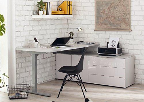 moebel-dich-auf Maja eDJUST elektrisch höhenverstellbarer Schreibtisch 155 * 160 cm in Platingrau/Lack weiß spiegelglanz