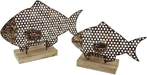 Dekoleidenschaft 2 Teelichthalter Fisch aus Metall in Rost-Optik, Shabby Look, Teelichtständer