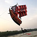 NPIL Toys Kite, Kids Kite Kites for Kids Easy to Fly with Outdoor 3D Pirate Ship Kite with Tails Durable (Color : Red)