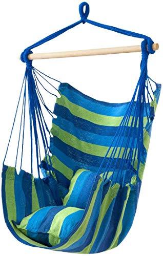 Silla Columpio Hamaca Asiento colgante de la silla de la cuerda colgante para cualquier espacio interior o exterior  Lona de algodón suave y duradera  2 cojines incluidos  Silla colgante grande macram