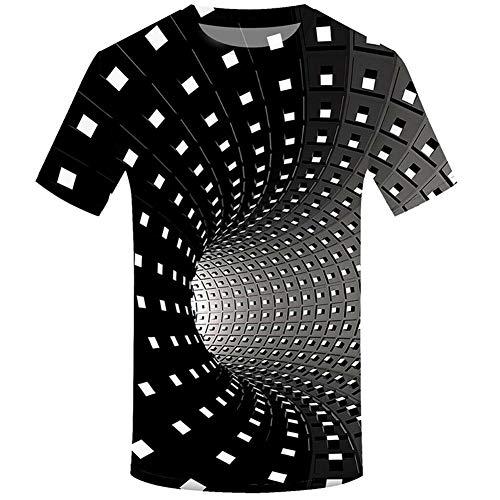 Xiaolian Men Women Short Sleeve T-Shirt Tops 3D Swirl Print Optical Illusion T-Shirt, beige, Large