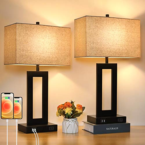 Set of 2 Touch Control Table Lamp with 2 USB Ports, 3-Way Dimmable Modern Nightstand Lamp Sets Bedside Touch Desk Lamp With Fabric Cream Shade For Bedroom Table Living Room Reading, LED Bulbs Included