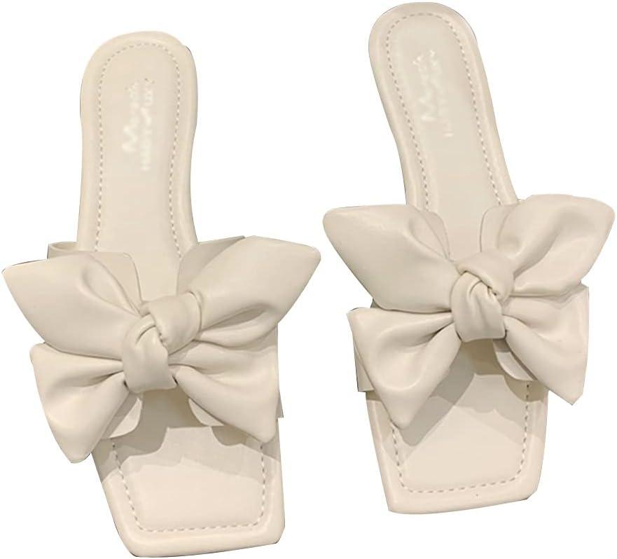 MTFBQ Leather Sandals for Women, Square Toe Sandals Women Flat,