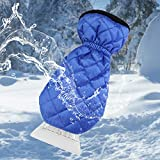 Ice Scraper for Car Windshield with Mitt 1 Pack Snow Ice Scraper Remover Tool with Glove Waterproof Warming Snow Shovel for car Window & Windshield, Scratch-Free(Blue, 1 Pack)