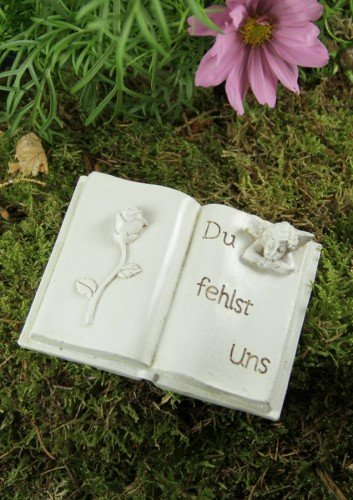 Grabbuch mit Engel und Rose