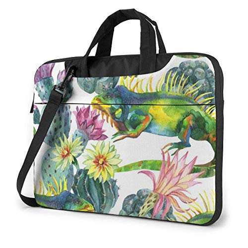 15.6″Lightweight Laptop Notebook Shoulder Backpack Bag Paint Plant and Cartoon Bearded Dragon Lizards Waterproof PC Briefcase Messenger with Strap