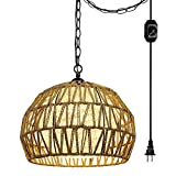 Hanging Swag Ceiling Lamp Twine Natural Rattan Lampshade No Wiring Needed Portable Pendant Light with 20ft Plug-in UL Dimmable Modern Farmhouse Black Iron Chain Cord Instant on Swag Lamp,Customizable
