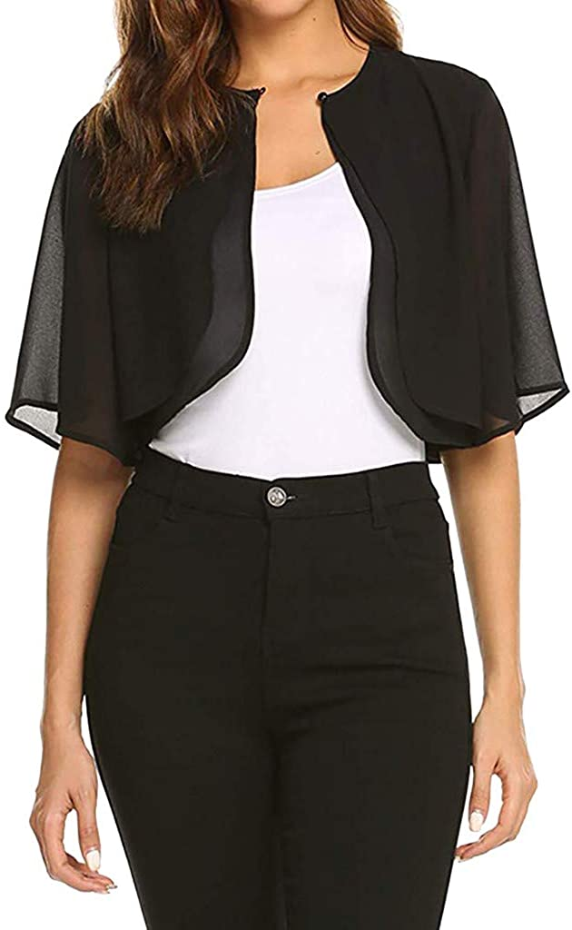 Women's Blouse,Women's Short Sleeve Sheer Open Front Chiffon Cardigan Top