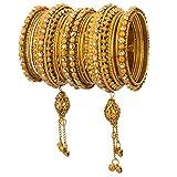Efulgenz Boho Vintage Antique Gypsy Tribal Indian Oxidized Crystal Tassel Bracelets Bangle Set Jewelry (18 Pc)