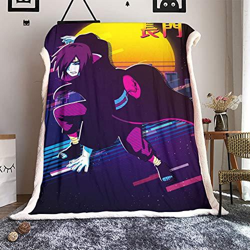 WANFJCTHC Naruto Nagato Fleece-Decke, Überwurf, Größe Naruto Flanell, luxuriös, warm, weich, Decken für Couch, Sofa, Bett, 152,4 x 127,7 cm