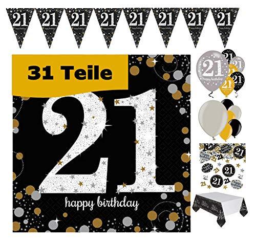 Feestelijke feesten verjaardagsdecoratie 21e verjaardag 31 delen deco-set luchtballon wimpel slinger confetti servet tafelkleed goud zwart zilver metallic party-set