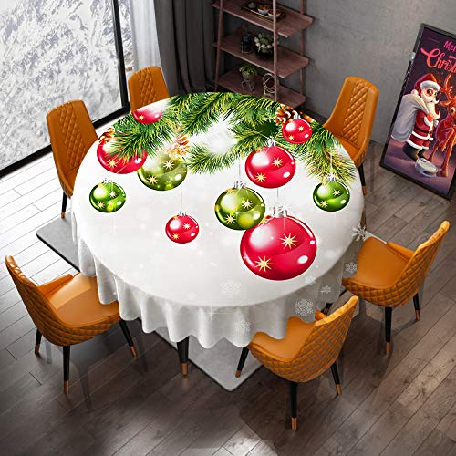 """VVA Christmas Round Tablecloth - New Year Colorful Xmas Balls Hang on Pine Tree with Snowflake Baubles Ornaments Table Cloths for Traditional Winter Season - Great for Holiday Dinner Party 70"""" Inch"""