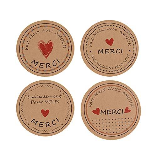 300pcs Etiqueta Adhesiva Pegatina Kraft Gracias Merci Handmade Corazón para Sello Scrapbooking Regalo Bolsa Jabón Recuerdo Boda Fiesta Aniversario Cumpleaños (3.8 * 3.8cm)