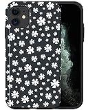 CASFY - Carcasa para iPhone 11, diseño de flores, color blanco y negro KU050_7, diseño de moda, accesorios para teléfono