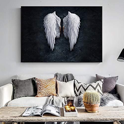 wZUN Póster Vintage Imprime alas de ángel Blanco y Negro Mural Lienzo Pintura alas Arte Pop Cuadros de Pared 60x120 Sin Marco