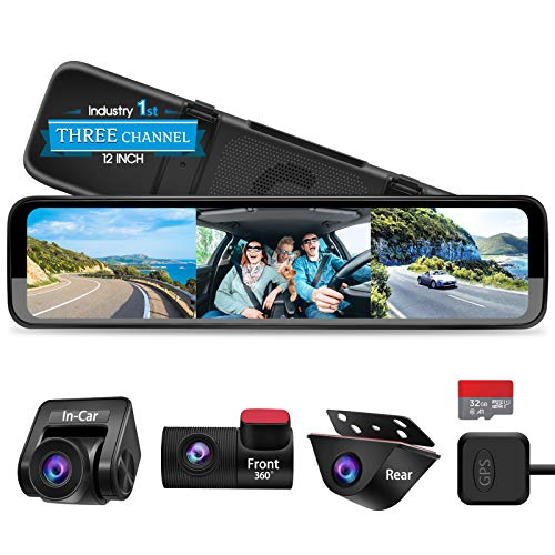 PORMIDO Triple Mirror Dash Cam 12' with Detached Front and in-Car Camera,Waterproof Backup Rear View...