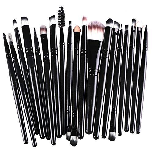 Gshy Professional 20 pièces Maquillage Set de Brosse Kit cosmétique Set de Brosse de Maquillage Marque de Laine (Noir)
