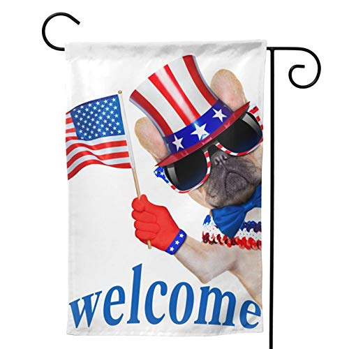 WAZHIJIA French Bull Dog Waving Flag USA Garden Flag Vertical Double Sided 12.5 X 18 Inch Yard Outdoor Decor America Welcomes You Home Flag