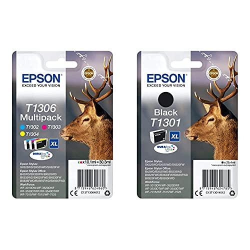 Epson T130 Serie Cervo, Cartuccia Originale Getto D'Inchiostro Durabrite Ultra, Formato Xl, Multipack 3 Colori & T130140 Cartuccia D'Inchiostro Stylus Sx525Wd/Sx620Fw Xl