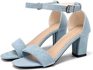 bf4b33b806d073 Sandali con Cinturino alla Caviglia per Donna in Pelle Scamosciata con  Tacco Largo, Sandali Aperti