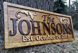 Personalized Lake House Sign Custom Wood Sign Carved Last Name Wooden Signs Home Décor 3D Cabin Rustic Lakehouse Personalized Wedding Gift Established Sign Family Name Sign 5 Year Anniversary Gift