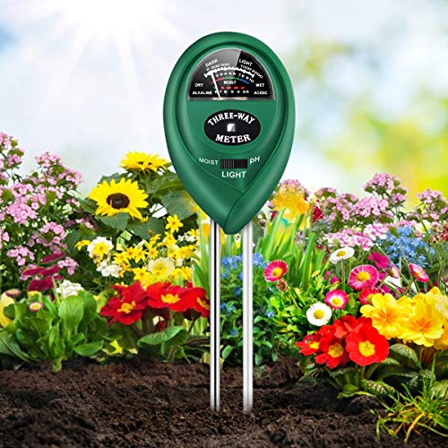 Cipamnel Soil PH Meter, 3-in-1 Soil Moisture/Light/pH Tester Gardening Tool Kits, Soil pH Meter Test Kit for Garden, Lawn, Farm, Indoor & Outdoor Use
