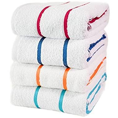 Hospitality Supply Inc 100% USA Cotton – Family variety pack of 4 Pool-Beach Striped Towels, 30x60. Sold to major hotels in the USA, Caribbean. (Multi)