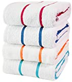"100% USA Cotton - Family variety pack of 4 Pool-Beach Striped Towels, 30""x60"". Blue Turqoise Red Yellow. Sold to major hotels in the USA, Caribbean. (Multi-Color 4 Pack)"