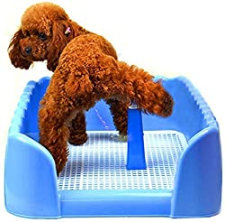 Kunfort Dog Puppy Potty with Fence,Puppy Training Pad Holder .Indoor Small Dog Tray.Easy Clean Easy Training Toilet.Anti-Spray Litter Box.Dog Training Grass Replacement,Puppy Pet Pee& Poop Training