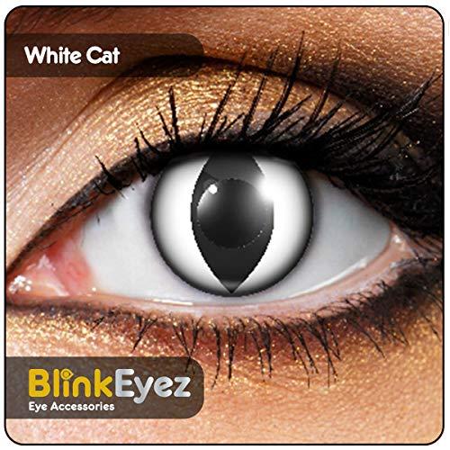 """BLINKEYEZ® stupefacente""""gatti Bianco"""" le lenti a contatto - perfetto per i costumi di Halloween, carnevale, festa e del costume. uso a zero potere della lente quotidiana.""""Zombie"""""""