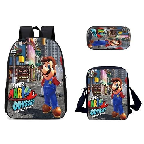 Mochila 3D Super Mario para niños Super Mario Niña Niña Niño Mochila Escolar Cartoon Super Mario Bolsa de Viaje Impermeable 3PC 17IN