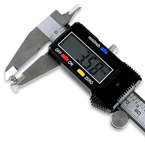 ZJchao - Calímetro digital (calibre 200 mm, impermeable, con pantalla LCD, para uso doméstico e industrial)
