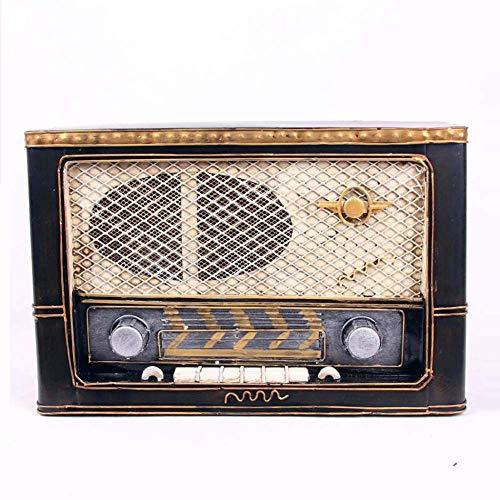 Vintage Radio Old Fashioned Radio Fenster Dekoration Weißblech Antik Vintage Modell Fotografie Requisiten Esszimmer Möbel Zubehör 10,9 x 4,6 x 7,4 Zoll Handwerk Geeignet für Desktop-Dekoration