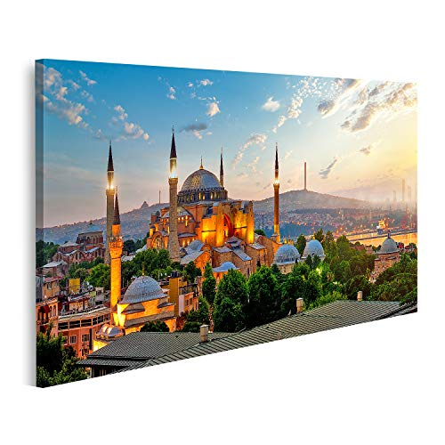 islandburner Bild Bilder auf Leinwand Sehen Sie das Stadtbild des Ayasofya Museums Istanbul Sonnenaufgang Türkei Wandbild Poster Leinwandbild GCRJ