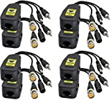 AAOTOKK Transceptor Red Pasivo Video/Audio Balun RJ45 a BNC HD-CVI/TVI/AHD/CVBS con Conector CC para 720-1080P 3MP 4MP 5MP 8MP Full HD CCTV Seguridad DVR Sistema Cámara Vigilancia(19 cm/4Pares)