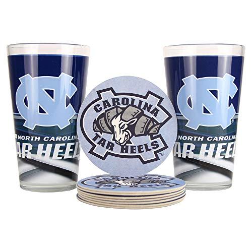 NCAA Pint-Glas und Untersetzer, 2er-Pack, Unisex, North Carolina Tar Heels (Slash)