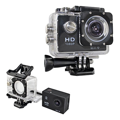 Flymemo W9C 1080P FHD 170 Degree Angle WiFi Action Camera 30m Waterproof Looping Video Motion Detection with 2.0 inch LCD Screen HDMI HDR Sports Camera, Black