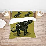 AmaUncle Dinosaur, Cartoon Style Anchiceratops Dino, Lightweight Bedding 4 Piece Duvet Cover Set 4 Pcs Set (1 Duvet Cover, 1 Bed Sheet, 2 Pillowcases) Bedding Sets AM009565 (Double)