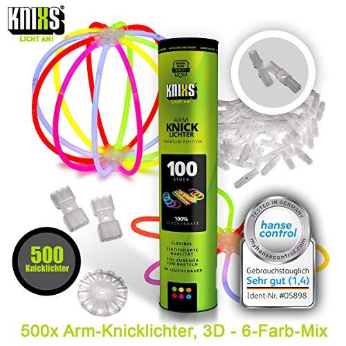 KNIXS 500x Arm-Knicklichter – im 6-Farb-Mix leuchtend inkl. 500x 3D-Verbinder und 10x Ballverbinder und 7-Lochverbinder, seit 15 Jahren in Profiqualität, deutsche Testnote: 1,4 - für Party, Festival, Geburtstag oder als Dekoration