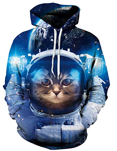 Leapparel Mens Astronaut Cat Graphic Hoodies Funny 3D Printed Sportwear Ugly Christmas Sweater Pullover, Astronaut Cat, X-Large