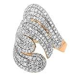Dazzlingrock Collection 3.00 Carat (ctw) 14k Round Diamond Ladies Cocktail Ring, Rose Gold, Size 7