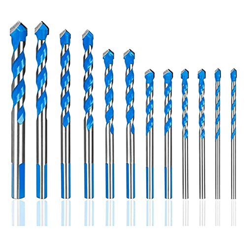 Drill Bits, 12 Pcs Masonry Drill Bits Set m to 12mm Carbide Twist Tips for Wall, Brick, Cement, Concrete, Glass, Wood) Have Industrial Str for Wood Plastic Aluminum (Color : Blue)