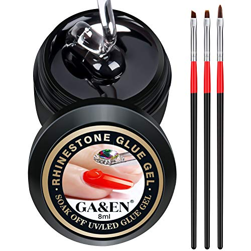 Nail Art 8ml/One Jar of Wipe-Off Rhinestone Glue Gel Adhesive Resin Gem Jewelry Diamond Polish Clear Decoration with Pen Tools (LED Light Cure Needed) Thicker&More Sticky Than Others