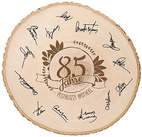 Casa Vivente Große Baumscheibe mit Gravur zum Jubiläum Personalisiert mit Jahreszahl und...