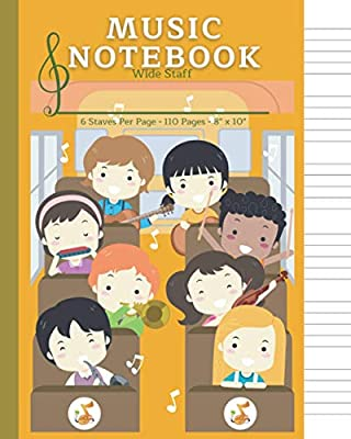 Manuscript Paper Notebook for Kids Music: Music Composition Book Wide Staff, 6 Staves Per Page, Blank Staff Paper, Music Theory for Kids, Staff Paper ... Notebook for Kids Music 6 Staves Per Page)