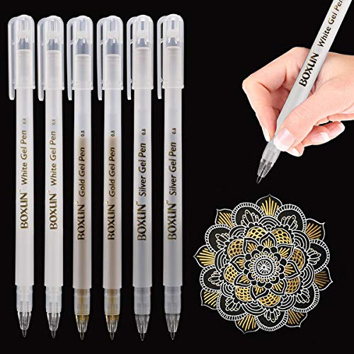 Premium 3 Colors Gel Pen Set - White, Gold and Silver Gel Ink Pens for Black Paper Drawing, Sketching, Illustration Deisgn and Adult Coloring Book, Pack of 6