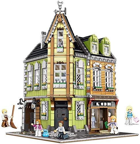 Escenas callejeras de bloques de construcción agencia de detectives callejeros comerciales, tienda de comestibles verde que construye juguetes modelo 3D creativos de bricolaje. 0919,3474pcs