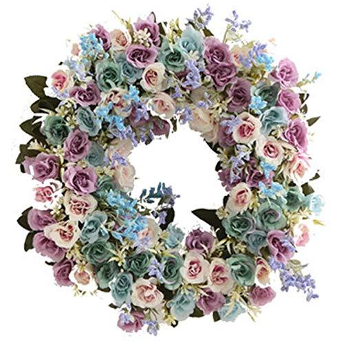 Huante - Guirnalda de flores de primavera artificial para puerta de entrada de boda